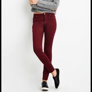 Forever 21 skinny red burgundy pants mid rise 27